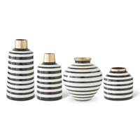 Black & White Striped Ceramic Vases With Gold Trim