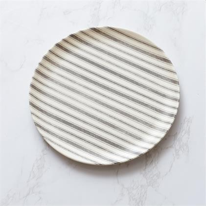 Slate & Cream Striped Melamine Plates- Set of 4