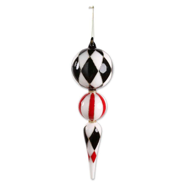 15 Inch Glass Red and White Harlequin Finial Ornament