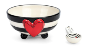 Wide Stripe Candy Bowl with Spoon Set