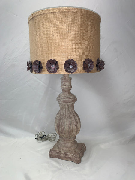 Lamp with Burlap and Flower Shade