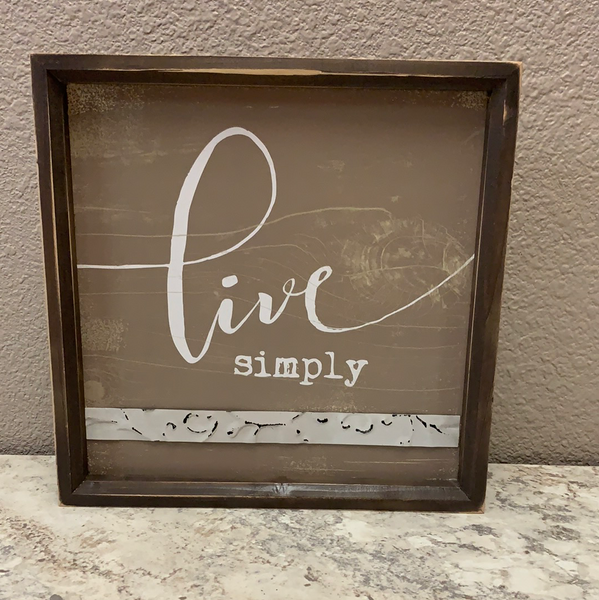 Live Simply Framed Sign