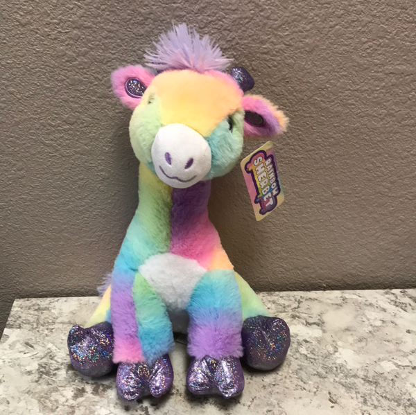 12in Rainbow Sherbet Sitting Giraffe