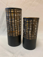 Pierced Tin Black & Gold Candle Holder- Short