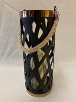 Black Tin Candle Holder with Flickering LED Candle