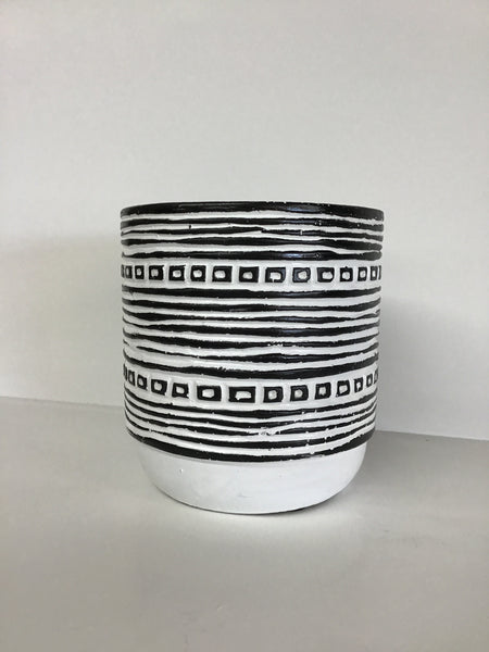 Black & White Pot Stripe Print