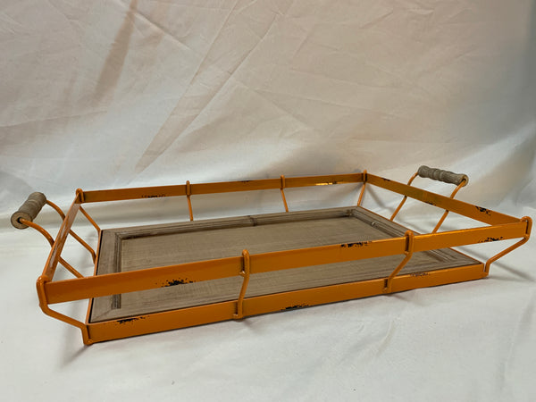 Orange Metal Wire Tray with Wood Insert