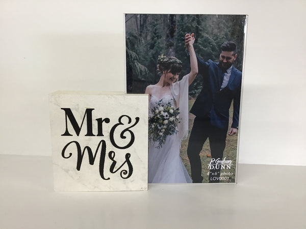 """Mr. & Mrs."" Wooden Block Frame"