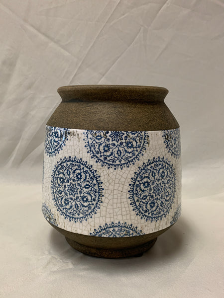BLUE  & WHITE MANDALA URN - SMALL