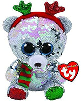 Mistletoe Reversible Sequin Bear with Antlers