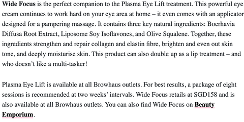 The Browhaus Plasma Lift and Wide Focus eye cream