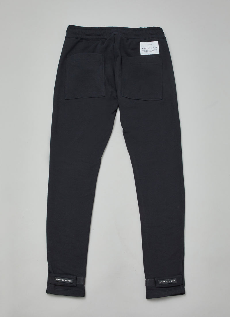 "ALWAYS OUT OF STOCK × VISIONARISM JOGGER PANTS-BLACK  ""MIDNIGHT BLOSSOM"""