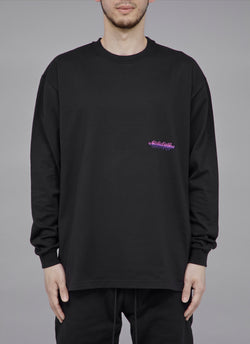 "ALWAYS OUT OF STOCK × VISIONARISM SMALL FADED LOGO L/S TEE-BLACK ""MIDNIGHT BLOSSOM"""