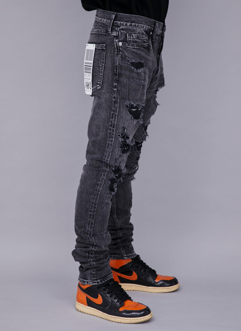 CRASHED SELVEDGE DENIM-BLACK (PAISLEY)