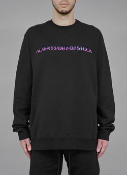 "ALWAYS OUT OF STOCK × VISIONARISM FADED LOGO CREWNECK-BLACK ""MIDNIGHT BLOSSOM"""