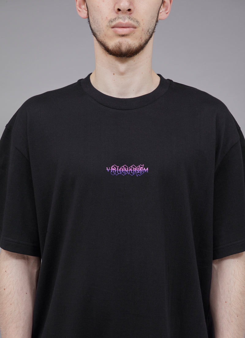 "ALWAYS OUT OF STOCK × VISIONARISM SMALL FADED LOGO TEE-BLACK ""MIDNIGHT BLOSSOM"""