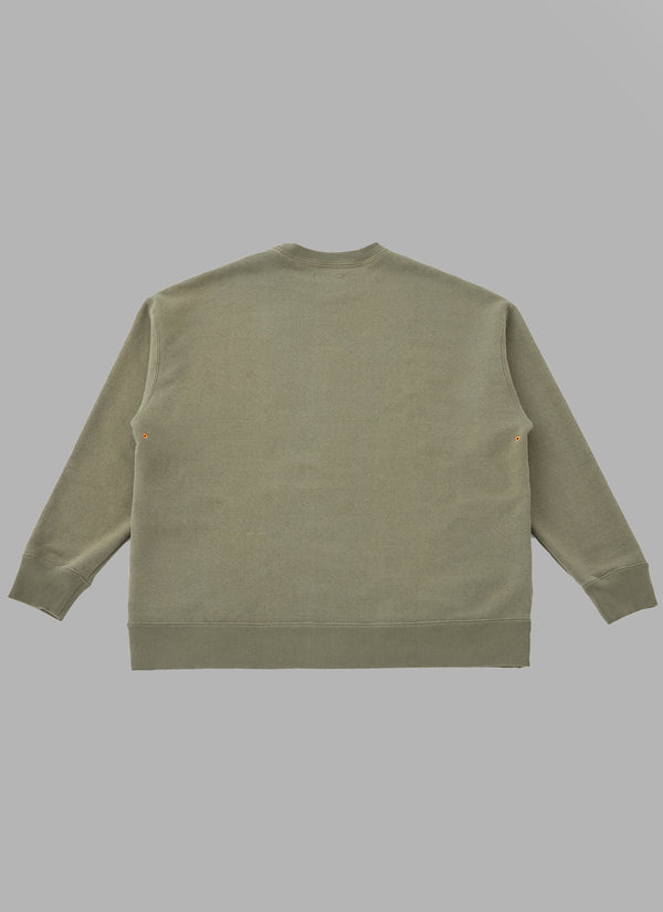 LOOP WHEEL CREW NECK SWEATSHIRT-OLIVE