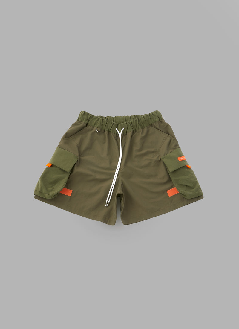 COMBINATION FATIGUE SHORTS-OLIVE