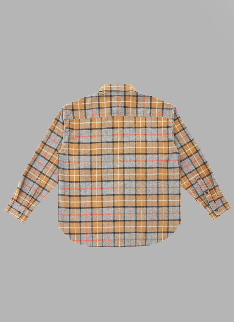 UTILITY L/S CHECK SHIRTS-BROWN