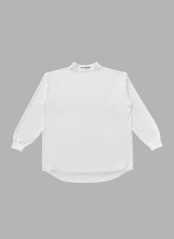 MOCK NECK L/S TEE-WHITE