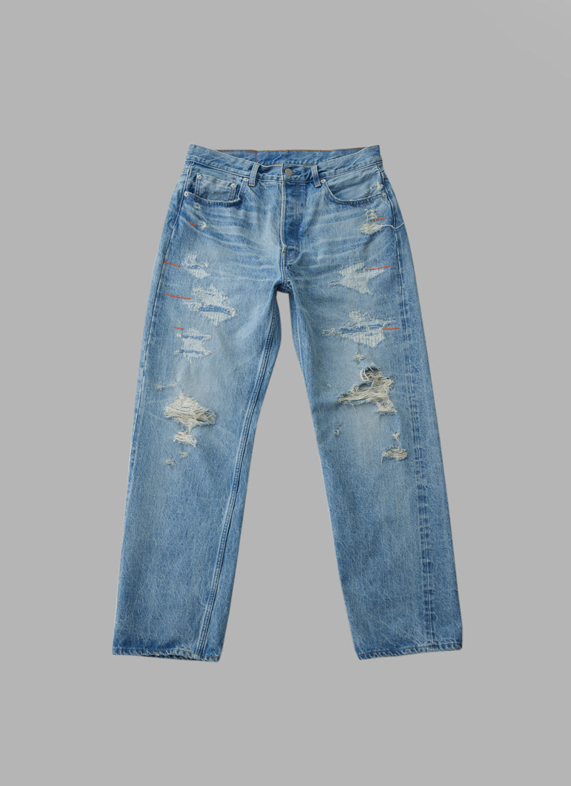 CRASHED HARD WASH STRAIGHT DENIM