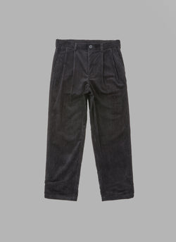 CORDUROY TAPERED JOG PANTS-BLACK