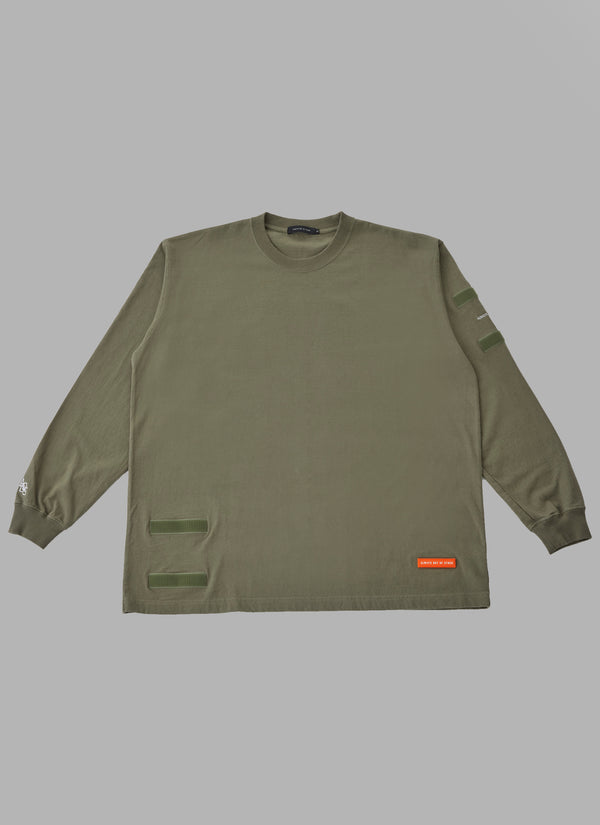 REMOVABLE POCKET L/S TEE-OLIVE