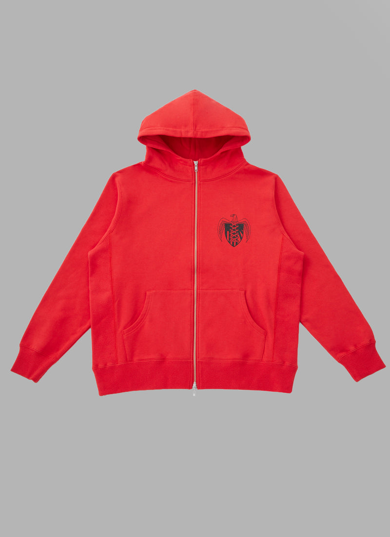 EMBLEM ZIP UP HOODIE-RED