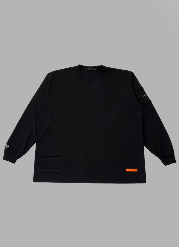 REMOVABLE POCKET L/S TEE-BLACK