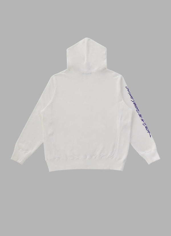 SIGNATURE ZIP UP HOODIE-WHITE