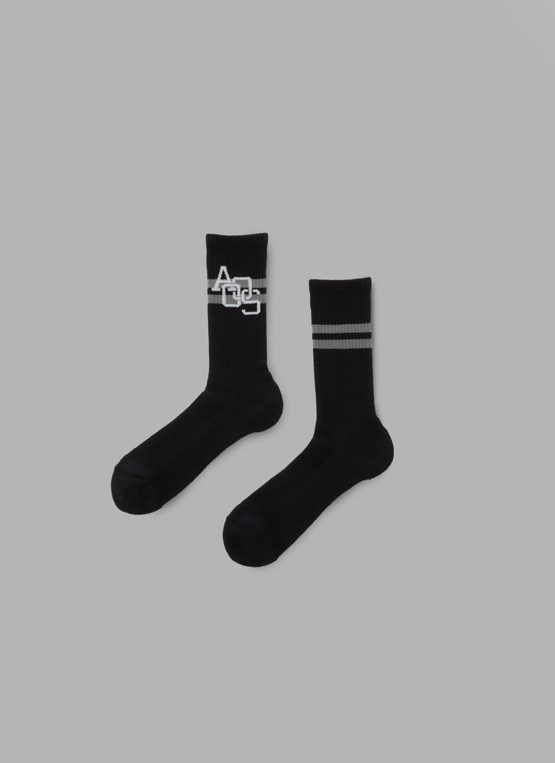 LINE HIGH SOCKS-BLACK