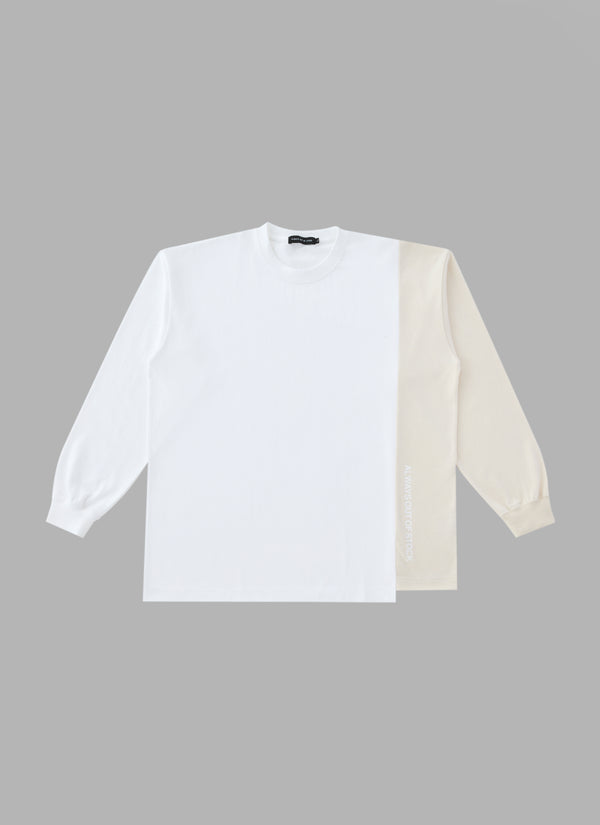 SWITCHED L/S TEE- WHITE/BEIGE