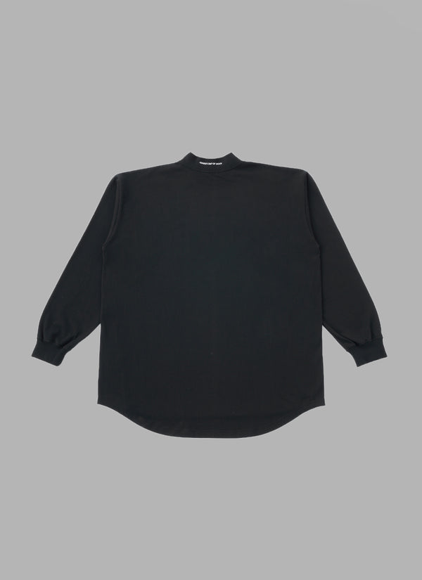 MOCK NECK L/S TEE-BLACK