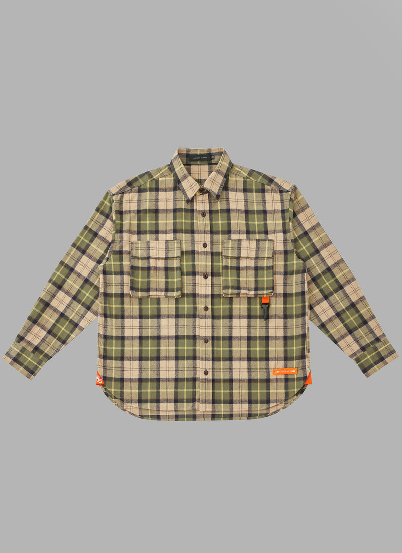 UTILITY L/S CHECK SHIRTS-BEIGE