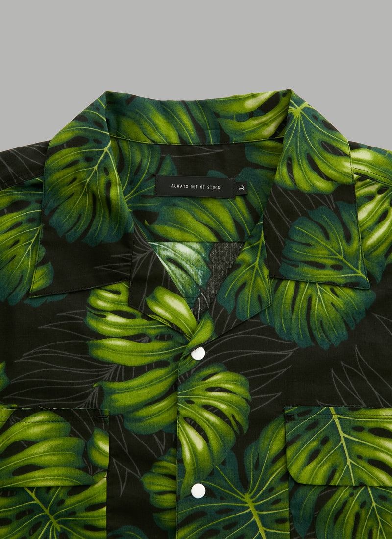 HAWAIIAN S/S SHIRTS-MONSTERA