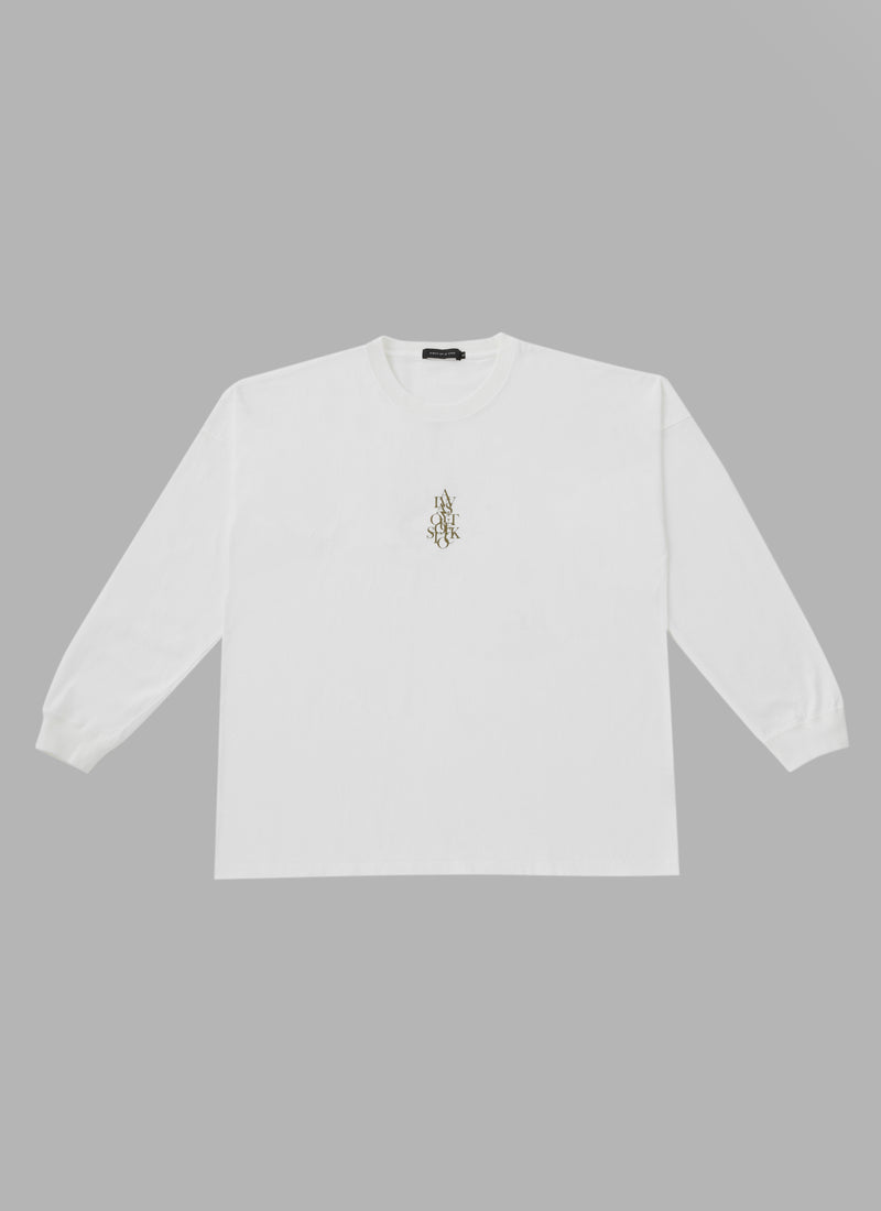 OVER WRAP L/S TEE-WHITE