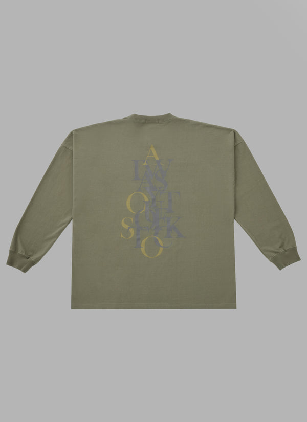 OVER WRAP L/S TEE-OLIVE