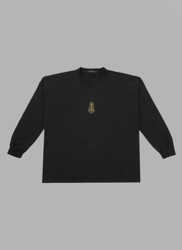 OVER WRAP L/S TEE-BLACK
