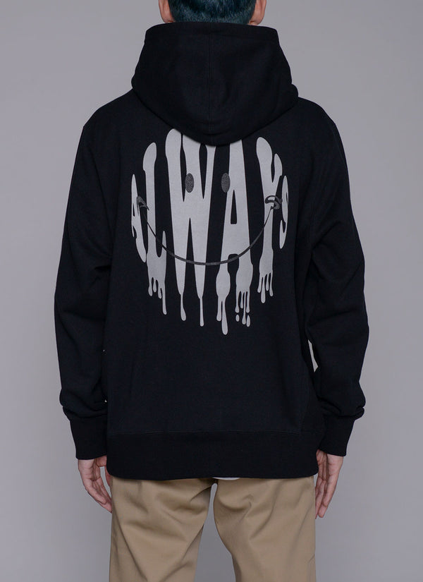 ALWAYS SMILE ZIP UP HOODIE-BLACK