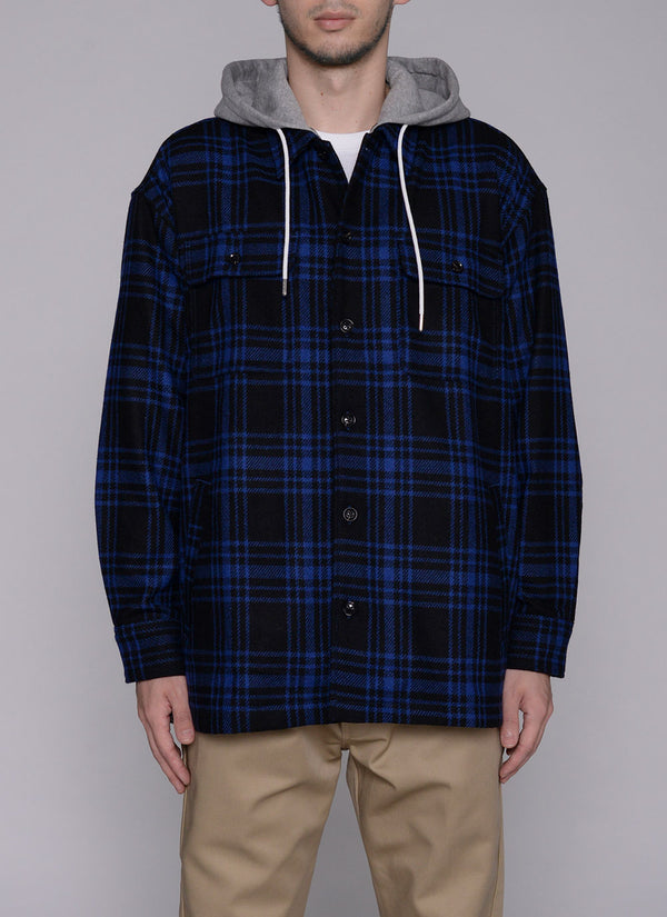 HOODED CHECK SHIRT JACKET-BLUE