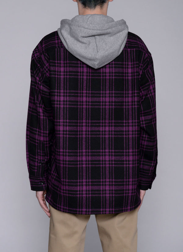 HOODED CHECK SHIRT JACKET-PURPLE