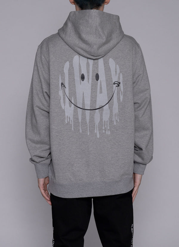 ALWAYS SMILE ZIP UP HOODIE-GREY