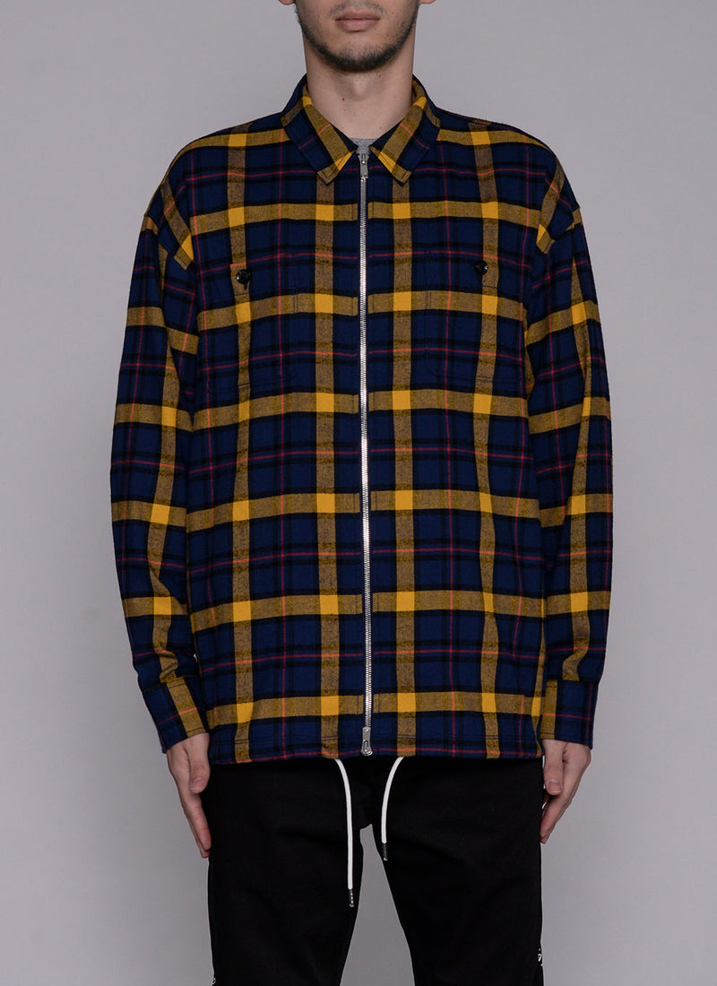 FRONT ZIP L/S CHECK SHIRT-NAVY