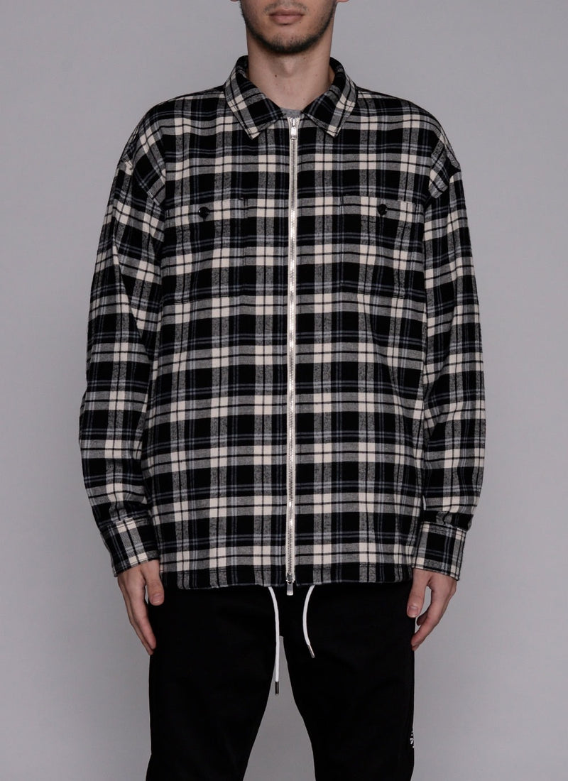 FRONT ZIP L/S CHECK SHIRT-GREY