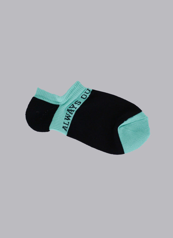ALWAYS OUT OF SOCK-BLACK/TURQUOISE (ANKLE SOCKS)