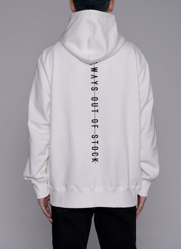 ALWAYS OUT OF STOCK × VISIONARISM ZIP UP HOODIE-WHITE