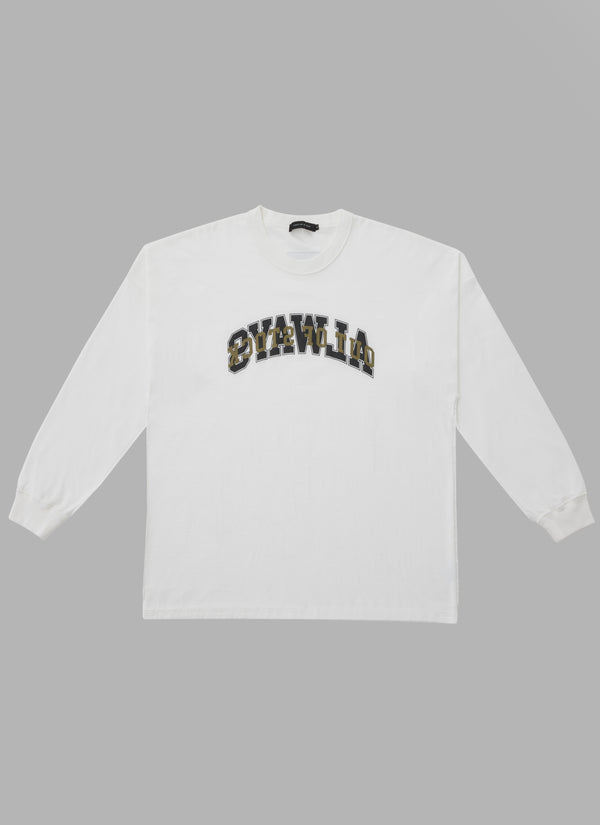 REVERSED DOUBLE ARCH L/S TEE-WHITE