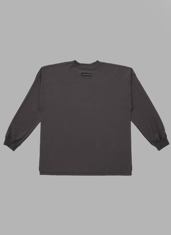 REVERSED DOUBLE ARCH L/S TEE-CHARCOAL