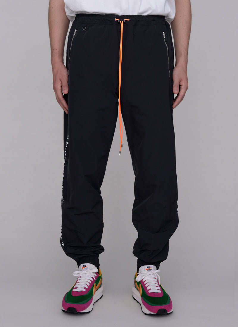 3D SHELL TRACK PANTS-BLACK