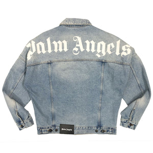 【Palm Angels】LOGO OVER DENIM JKT LIGHT BLUE WHITE